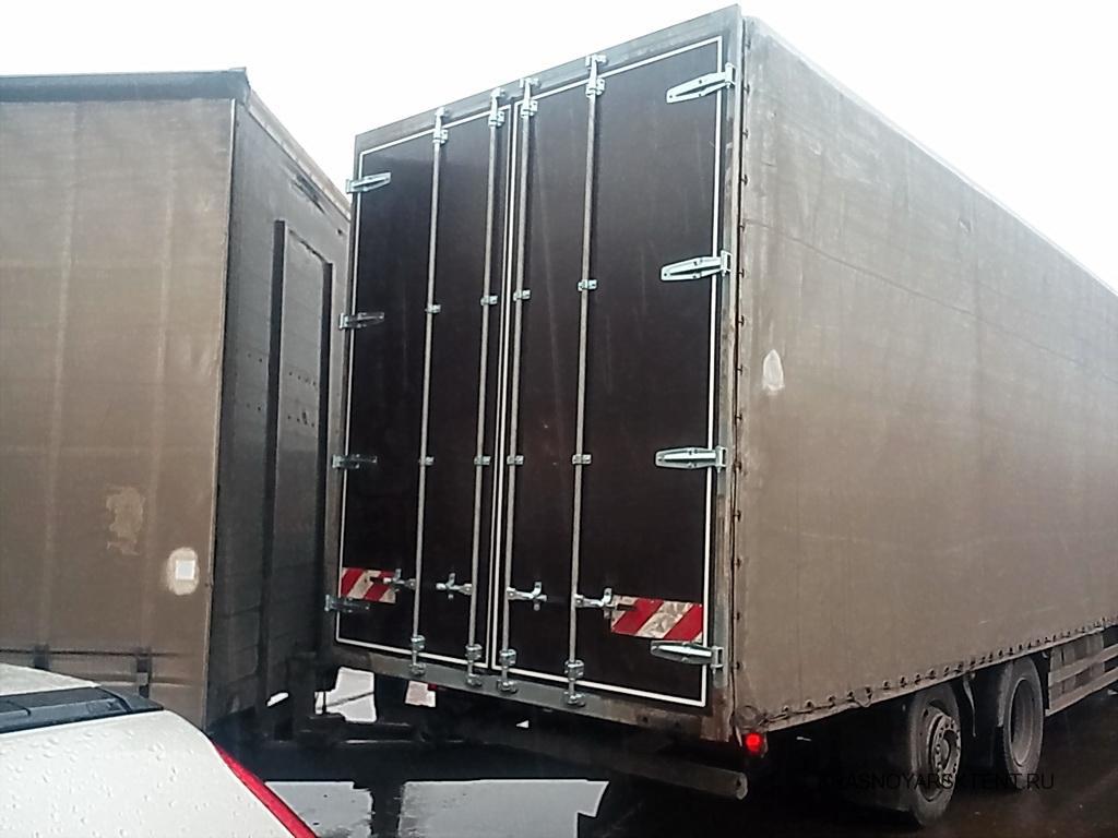 Изготовление и установка задних распашных ворот на грузовик Mercedes в Красноярске