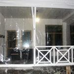 Мягкие окна для террасы с белым кантом